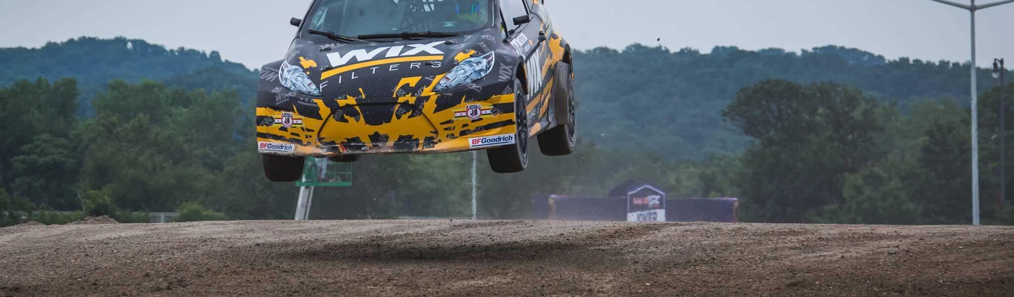 Alex Keyes Winning in the RedBull Global RallyCross Series