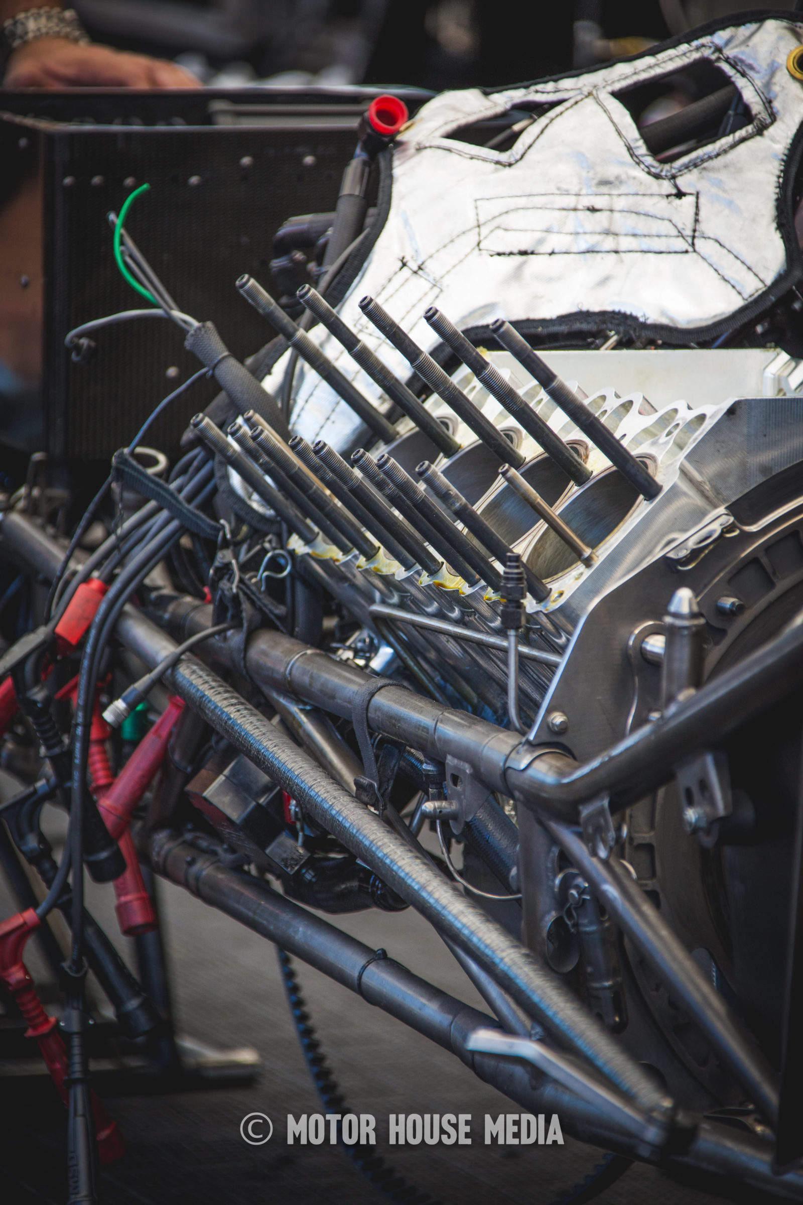 NHRA Courtney Force Funnycar engine teardown between rounds.