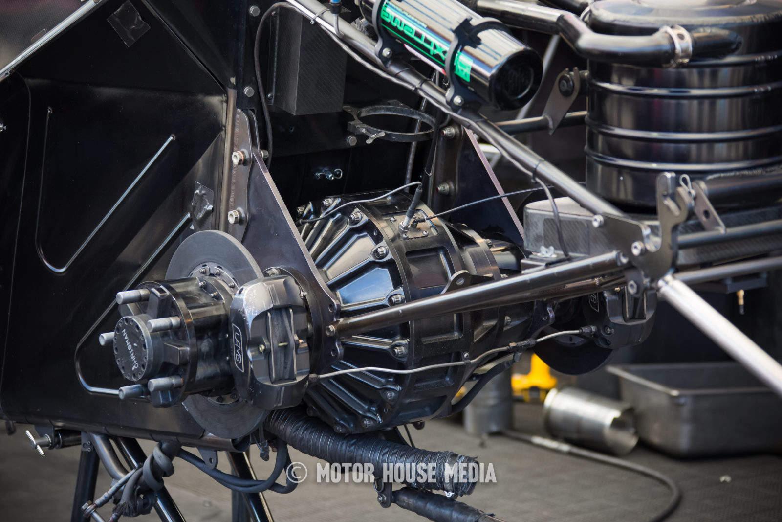NHRA Courtney Force's Funnycar rear teardown between rounds