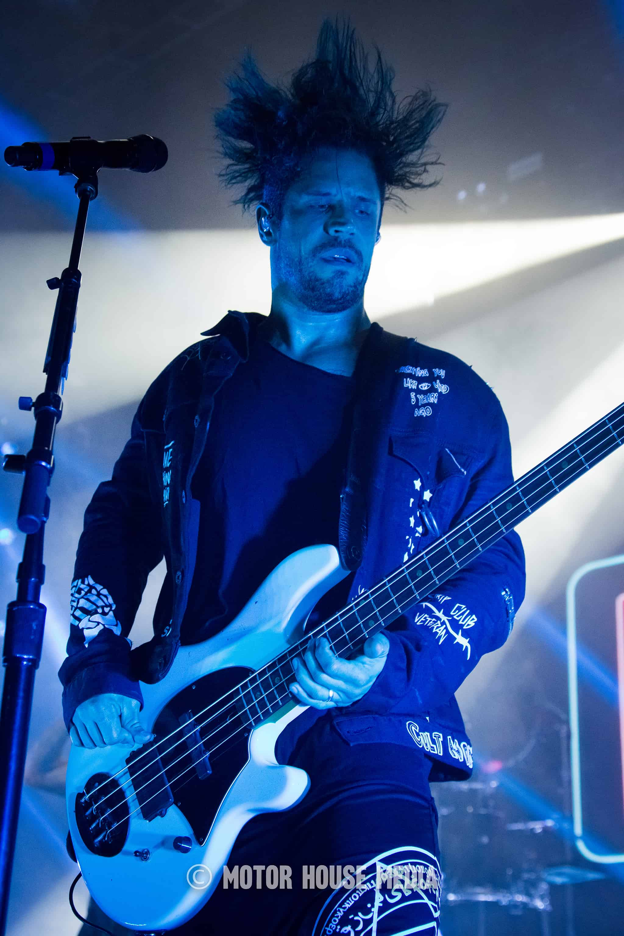 Papa Roach bass player Tobin rocking