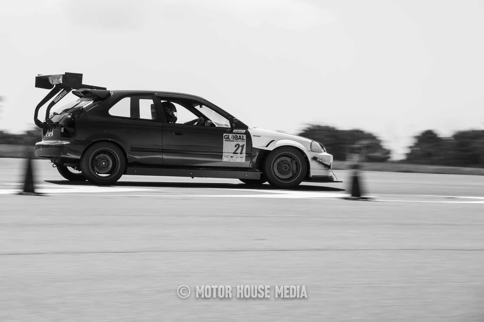Global Time Attack car in black and white