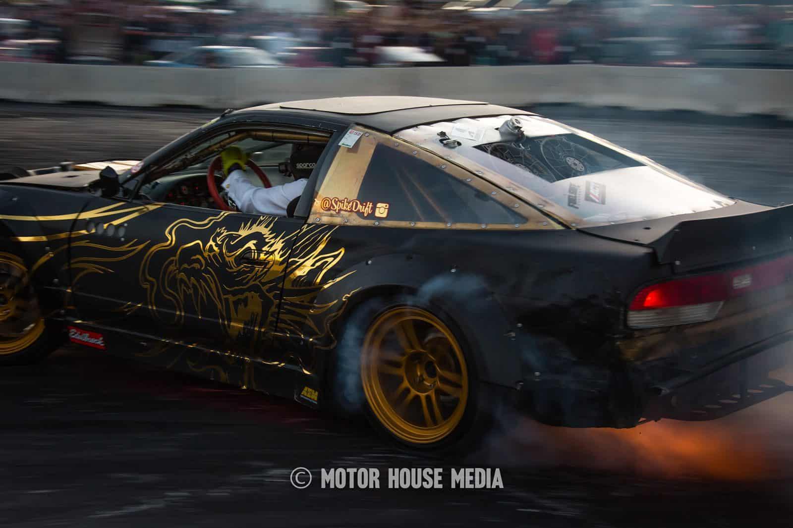 Spike Chen's loud Supra drifting at Hoonigan's Sema Burnyard