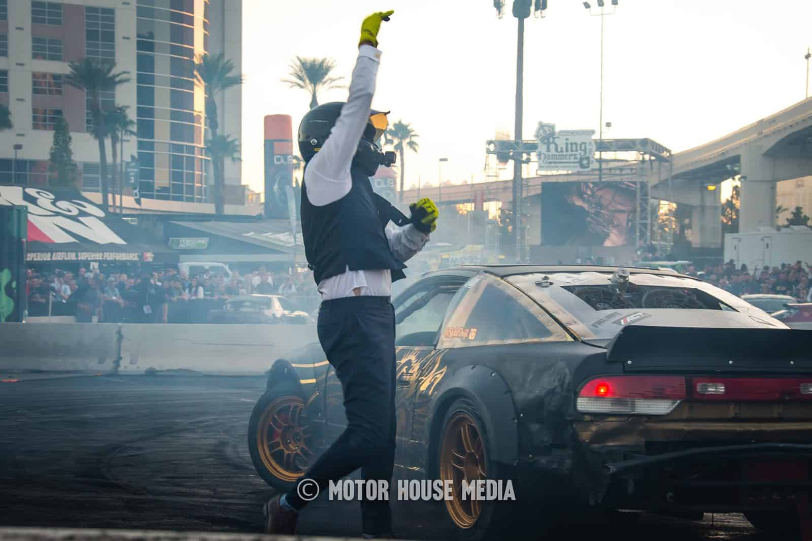 Spike Chen cheering on the crowd at the Hoonigan Barnyard