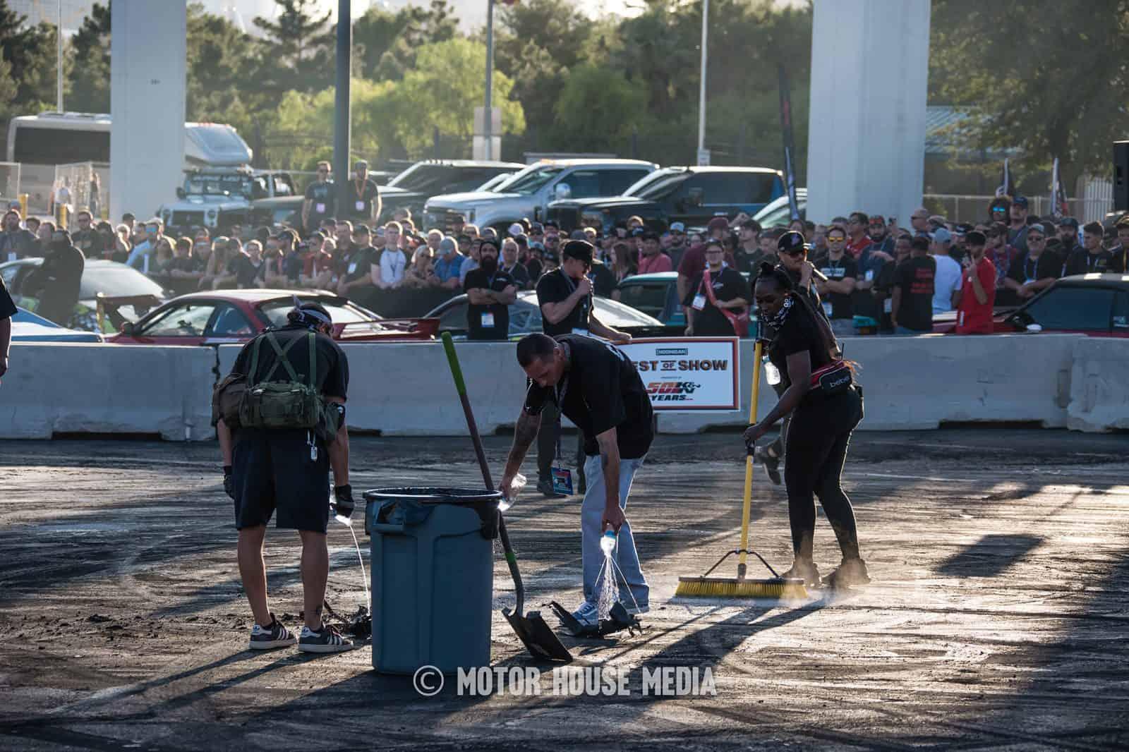 The Hoonigan Burnyard clean up crew hard at work at Sema