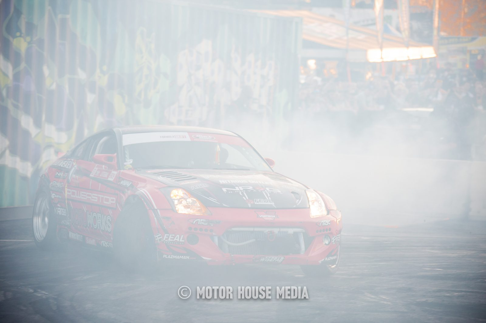 Ryan Litteral Drifting his Nissan at Hoonigan Burnyard