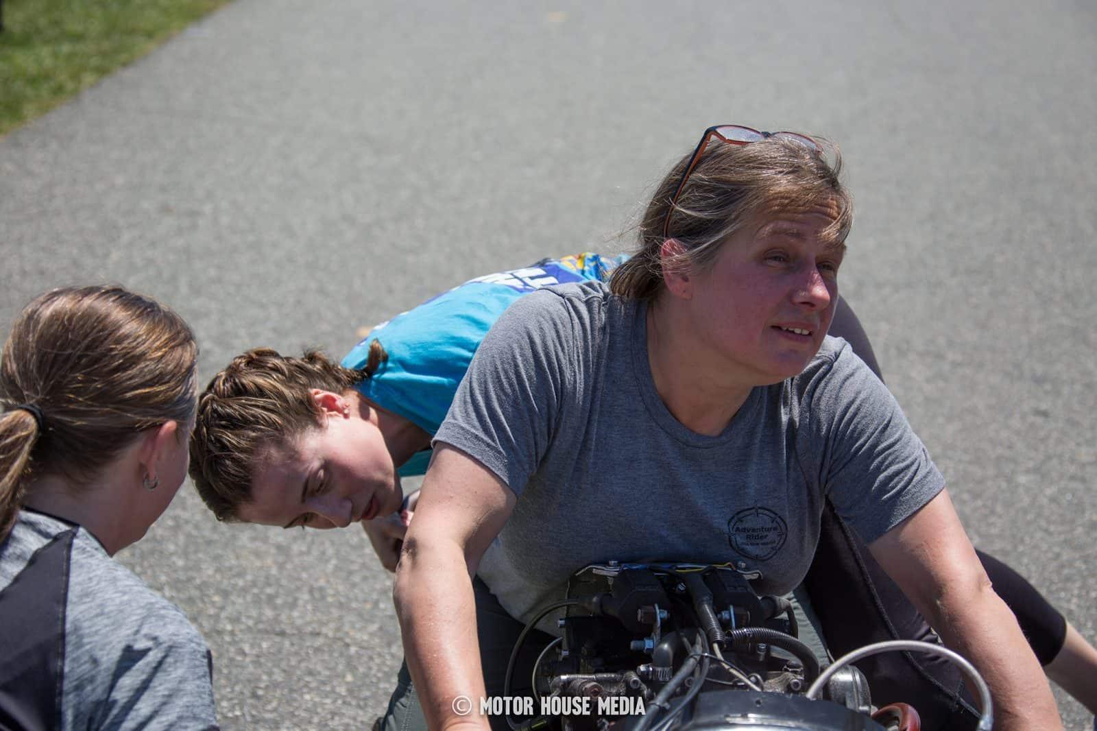AHRMA vintage Sidecar bike Monkey in training