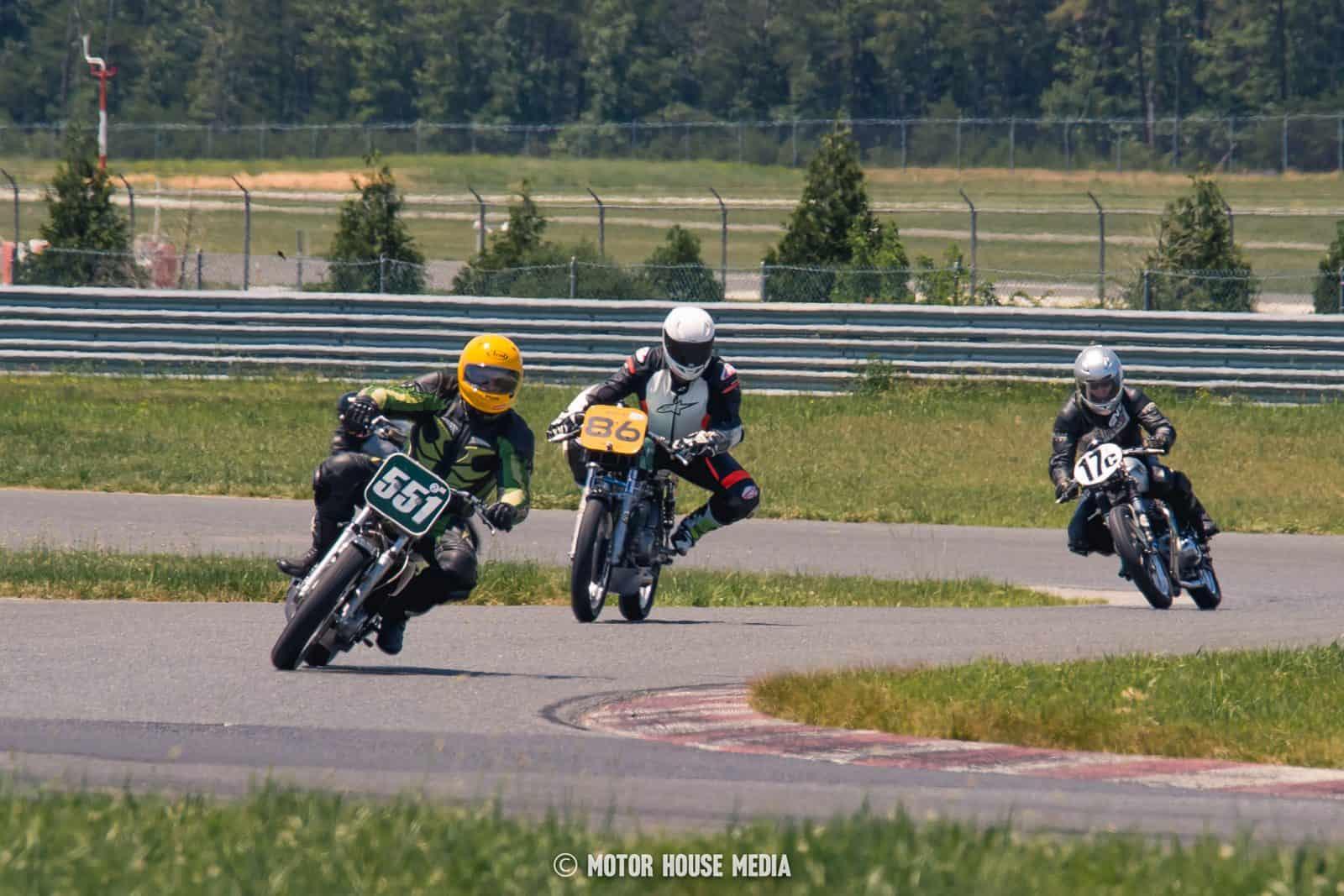 AHRMA vintage bikes competing on track