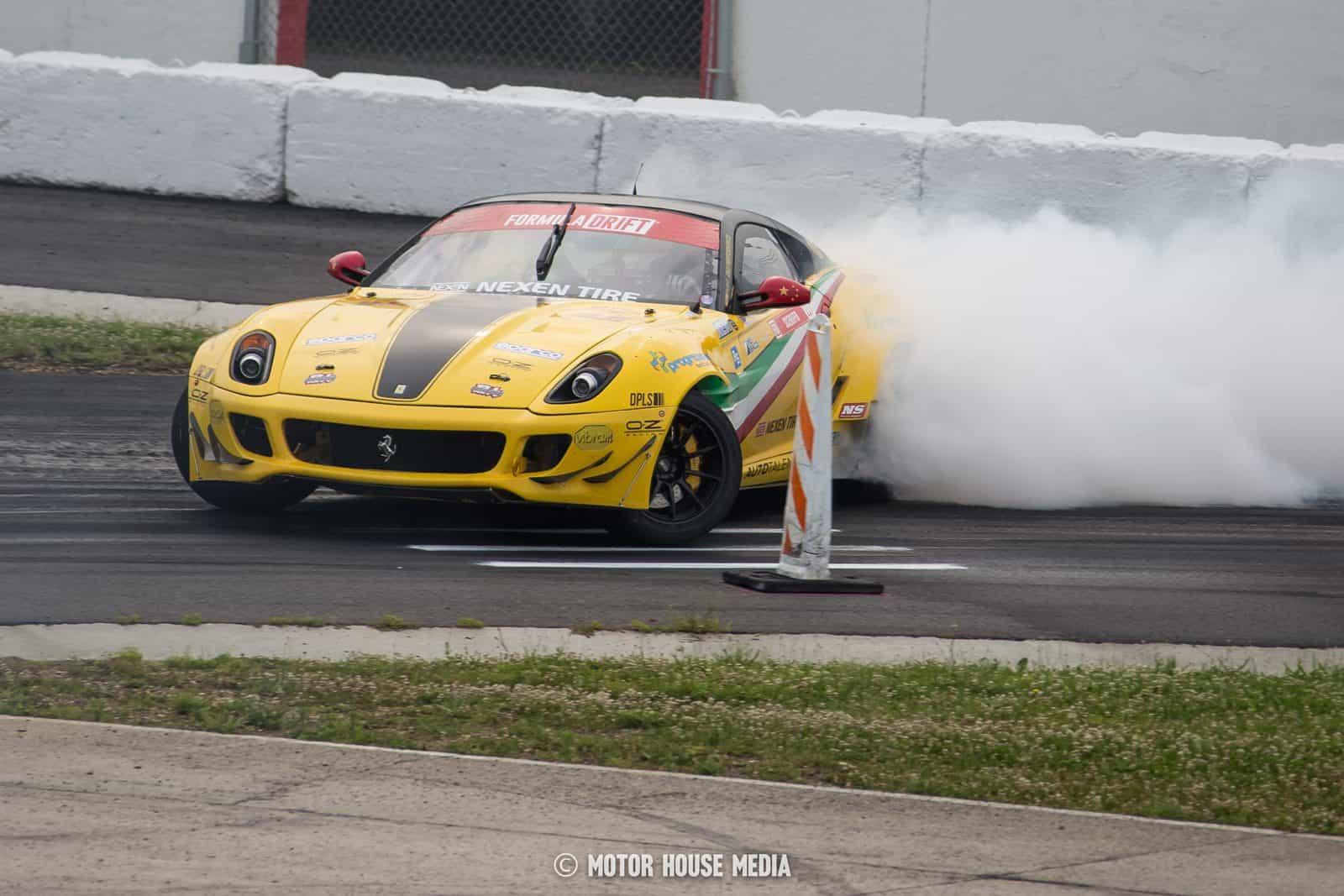 Federico Sceriffo in his Ferrari drift car