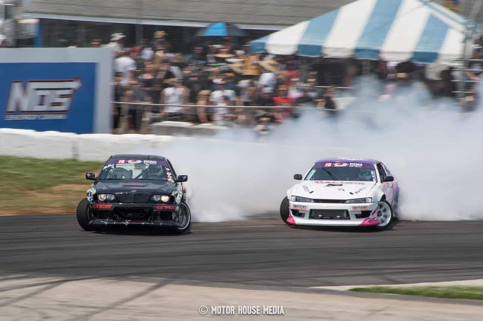 Formula Drift cars on the englishtown drift track