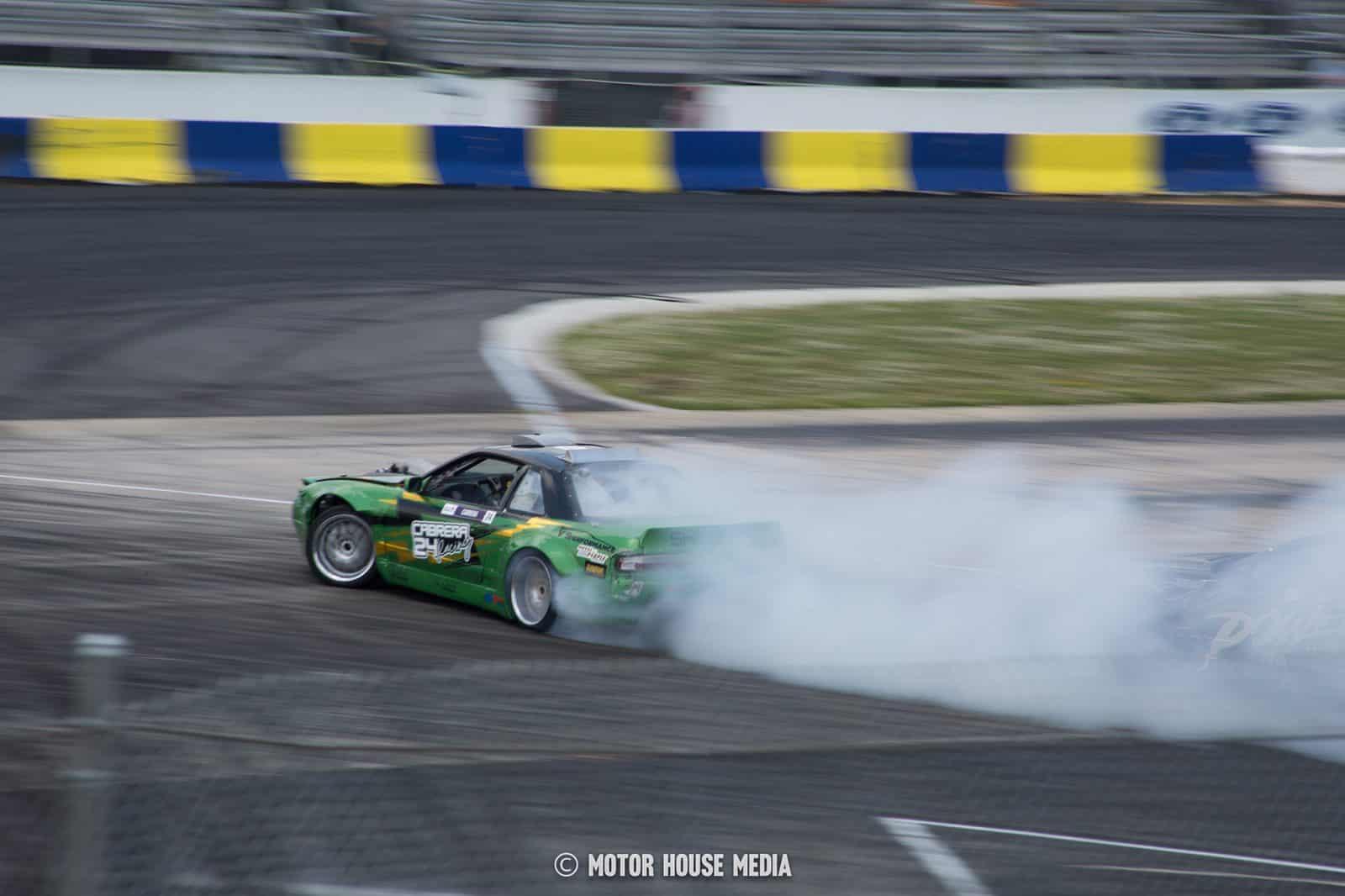 Pablo Cabrera sliding his formula drift car at englishtown