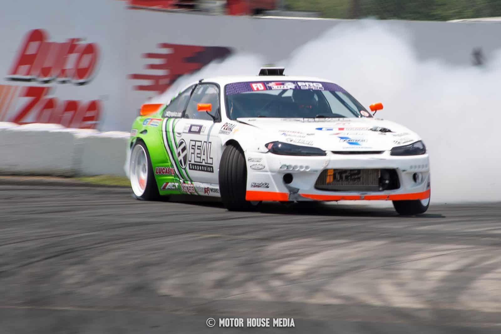 Evan Bogovich in his Feal suspension Formula Drift car