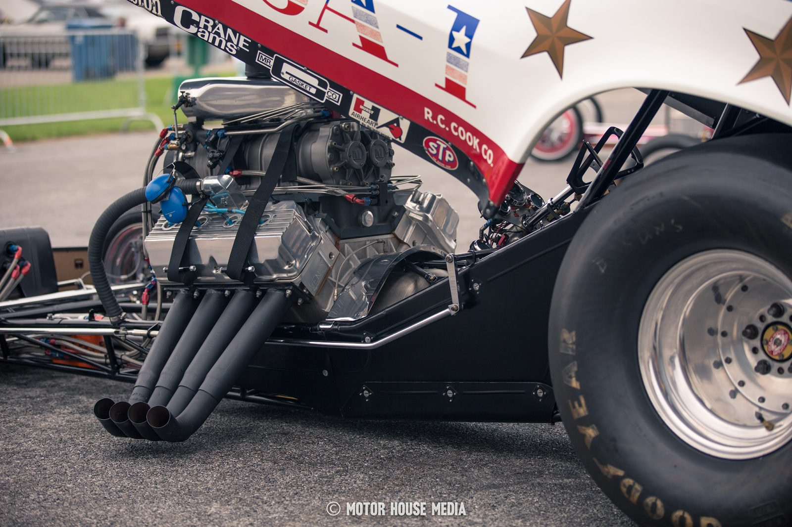 Bruce Larson's vintage Funny cars during Thunder Fest by Summit racing at the GoodGuys car show