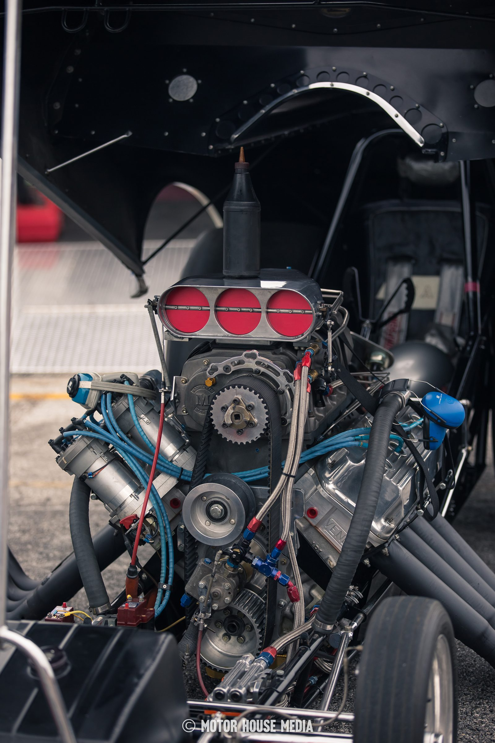 Bruce Larson's vintage Funny car Supercharger during Thunder Fest by Summit racing at the GoodGuys car show